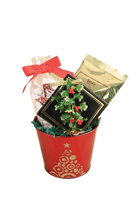 Red Bucket with Christmas Tree Design (small)