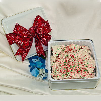Our Creamy Peppermint Bark in 1.2lb Tin